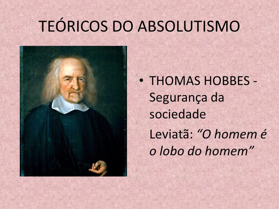 TEÓRICOS DO ABSOLUTISMO THOMAS HOBBES - Segurança da sociedade Leviatã: O homem é o lobo do homem