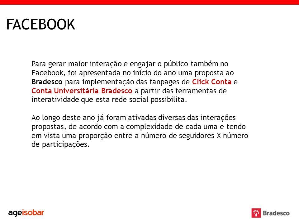 Para gerar maior interação e engajar o público também no Facebook, foi apresentada no início do ano uma proposta ao Bradesco para implementação das fa