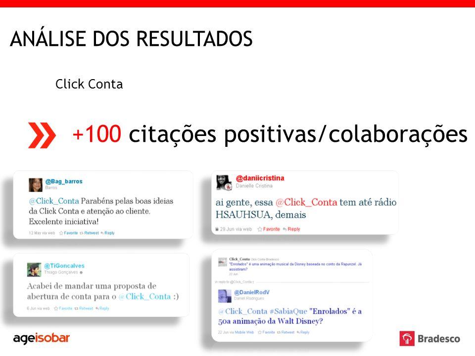 ANÁLISE DOS RESULTADOS Click Conta +100 citações positivas/colaborações