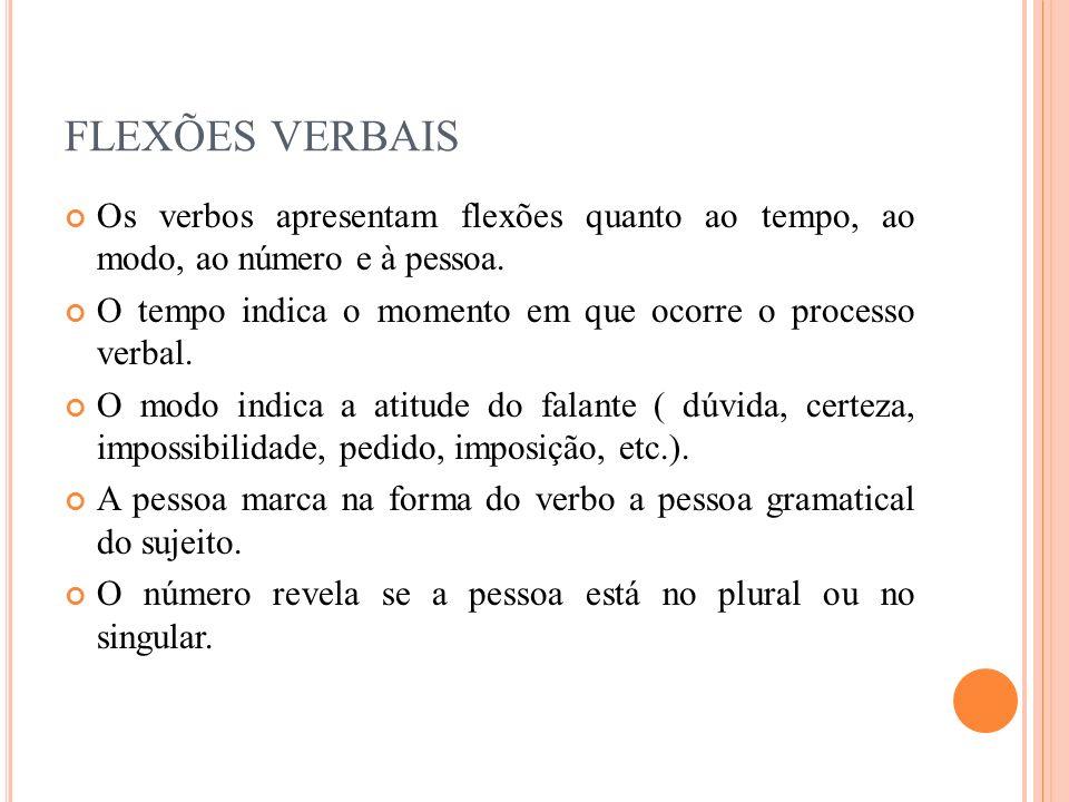Os verbos apresentam flexões quanto ao tempo, ao modo, ao número e à pessoa. O tempo indica o momento em que ocorre o processo verbal. O modo indica a