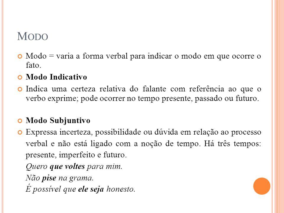 M ODO Modo = varia a forma verbal para indicar o modo em que ocorre o fato. Modo Indicativo Indica uma certeza relativa do falante com referência ao q