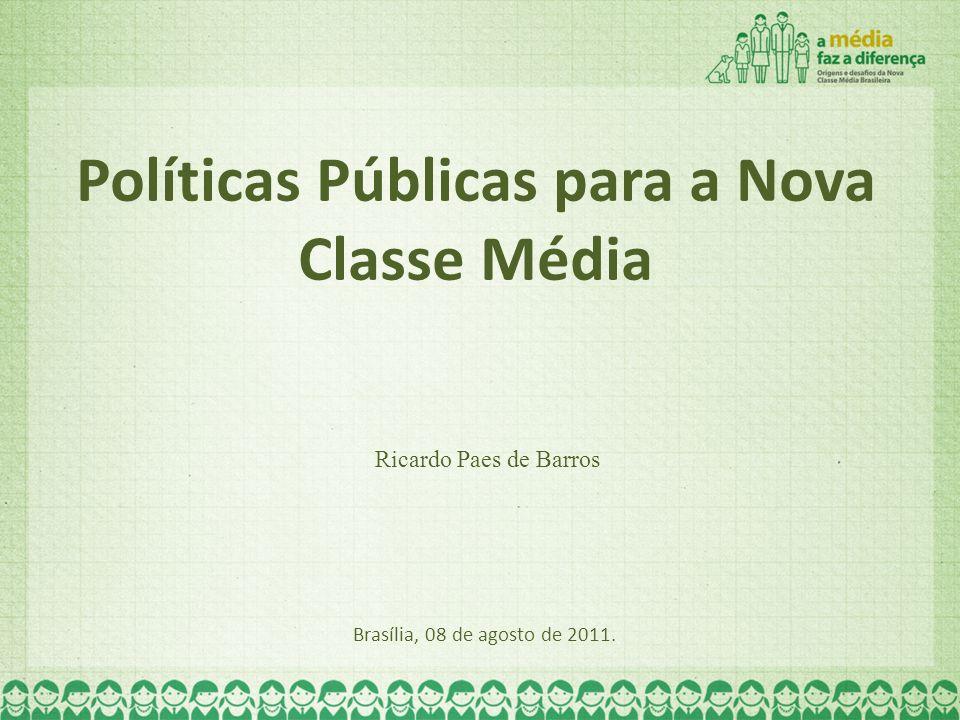 Políticas Públicas para a Nova Classe Média Brasília, 08 de agosto de 2011. Ricardo Paes de Barros