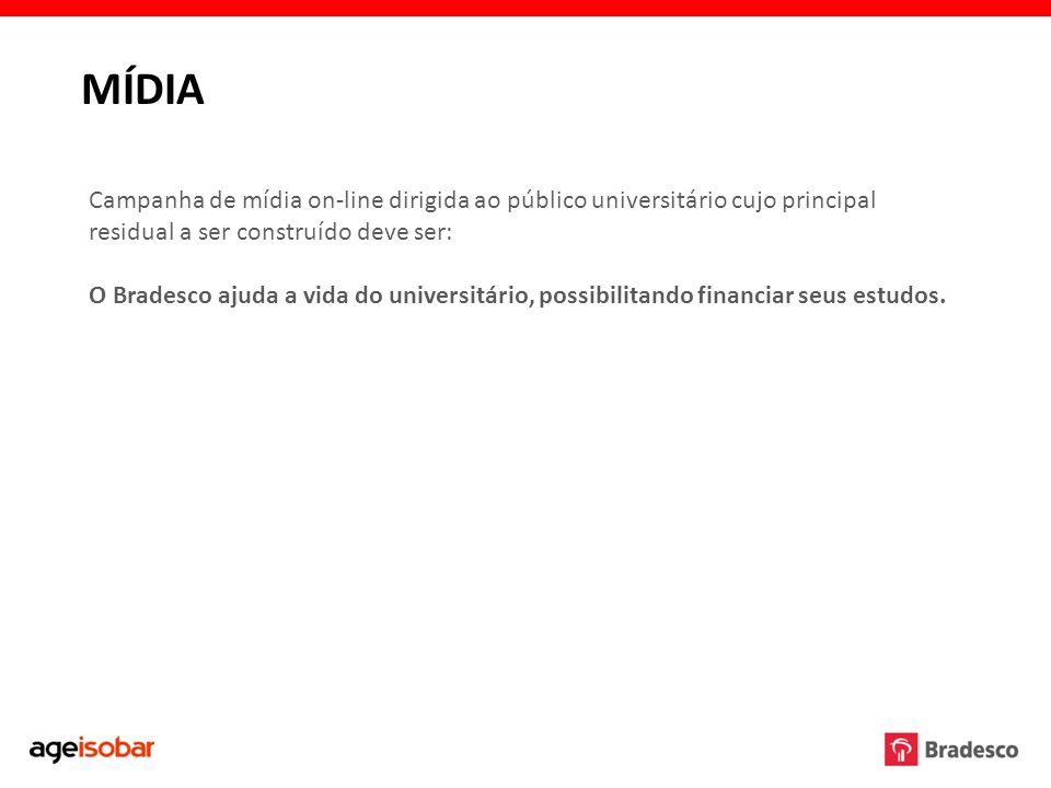MÍDIA Campanha de mídia on-line dirigida ao público universitário cujo principal residual a ser construído deve ser: O Bradesco ajuda a vida do univer