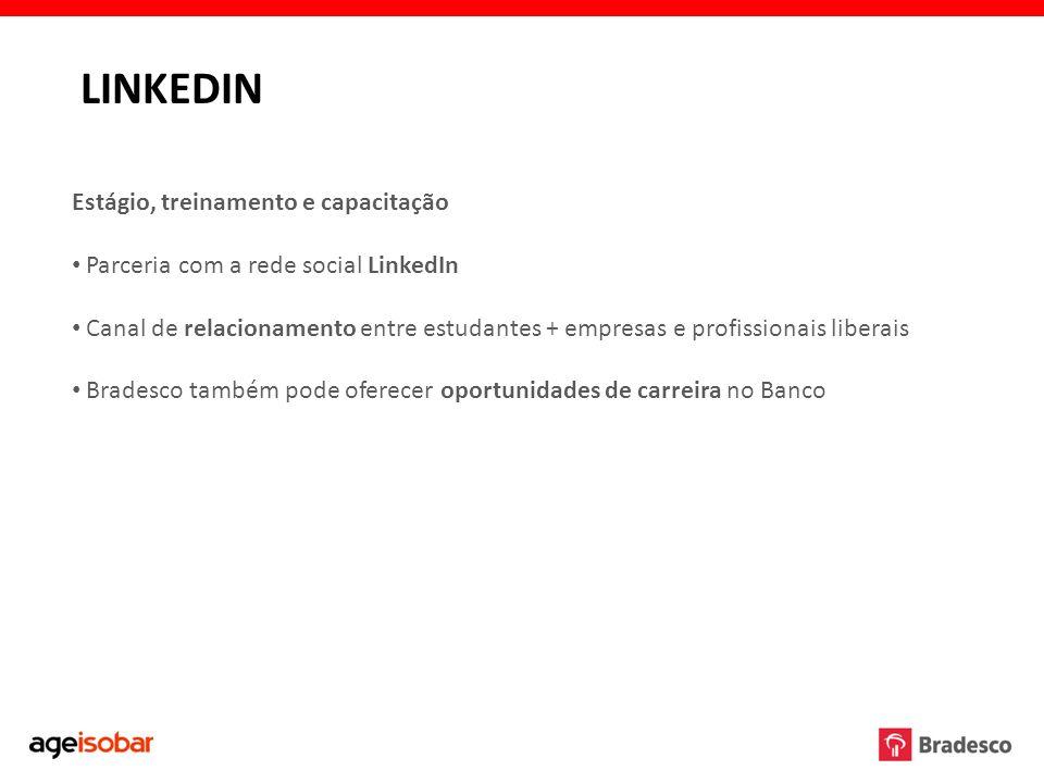 Estágio, treinamento e capacitação Parceria com a rede social LinkedIn Canal de relacionamento entre estudantes + empresas e profissionais liberais Br