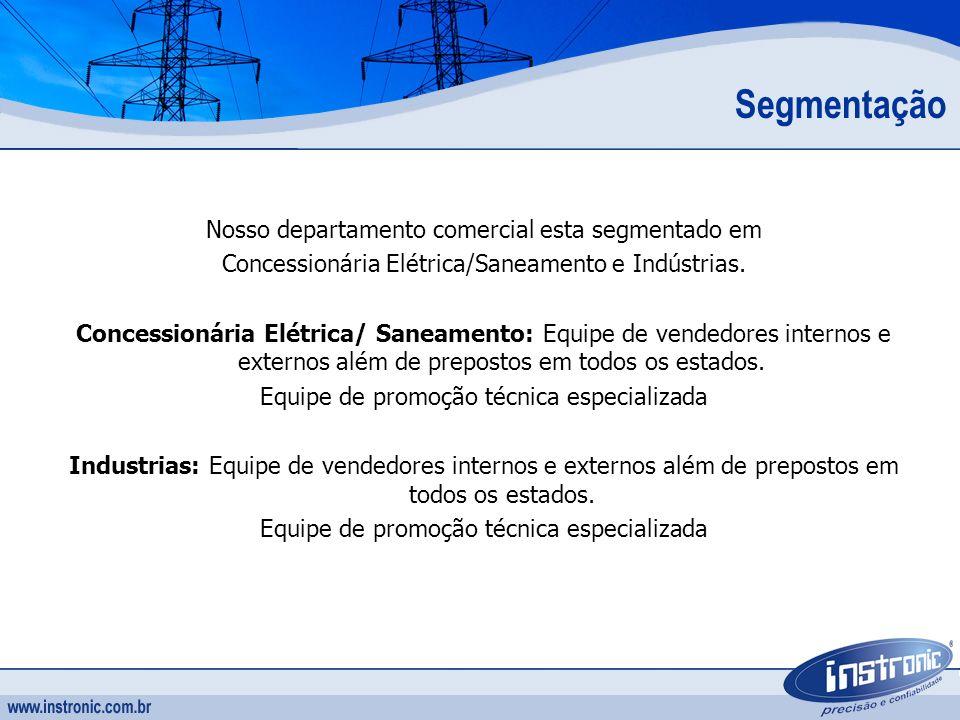 Segmentação Nosso departamento comercial esta segmentado em Concessionária Elétrica/Saneamento e Indústrias. Concessionária Elétrica/ Saneamento: Equi