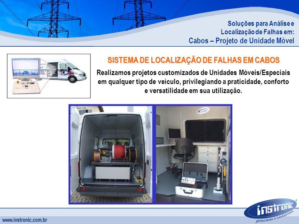 Soluções para Análise e Localização de Falhas em: Cabos – Projeto de Unidade Móvel SISTEMA DE LOCALIZAÇÃO DE FALHAS EM CABOS Realizamos projetos custo