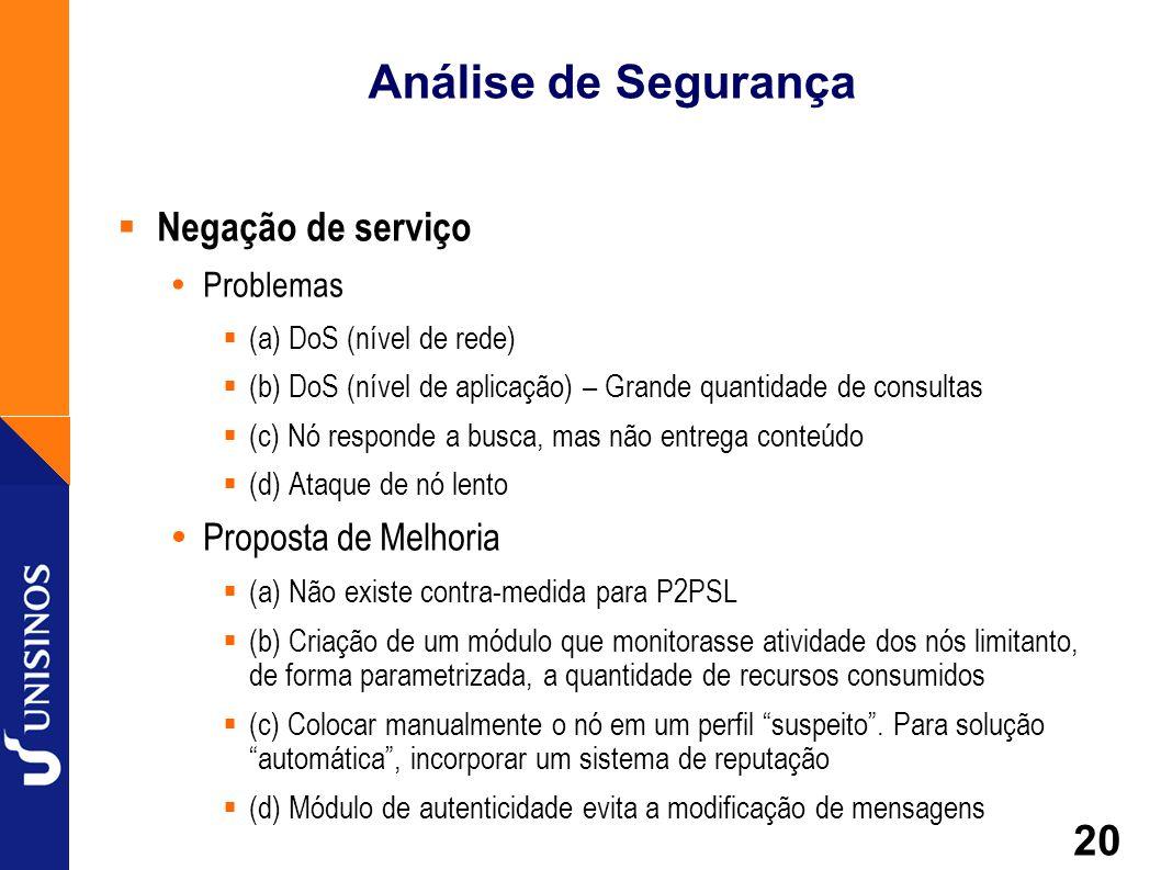 20 Análise de Segurança Negação de serviço Problemas (a) DoS (nível de rede) (b) DoS (nível de aplicação) – Grande quantidade de consultas (c) Nó resp