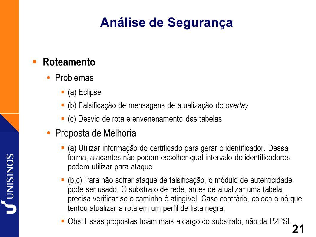 21 Análise de Segurança Roteamento Problemas (a) Eclipse (b) Falsificação de mensagens de atualização do overlay (c) Desvio de rota e envenenamento da