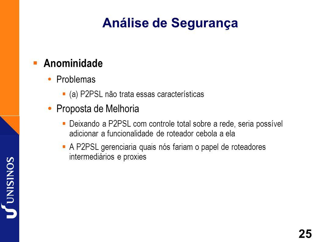 25 Análise de Segurança Anominidade Problemas (a) P2PSL não trata essas características Proposta de Melhoria Deixando a P2PSL com controle total sobre