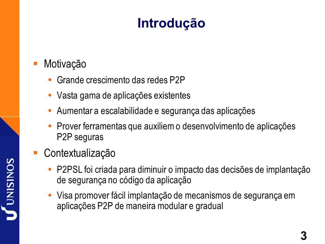 3 Introdução Motivação Grande crescimento das redes P2P Vasta gama de aplicações existentes Aumentar a escalabilidade e segurança das aplicações Prove