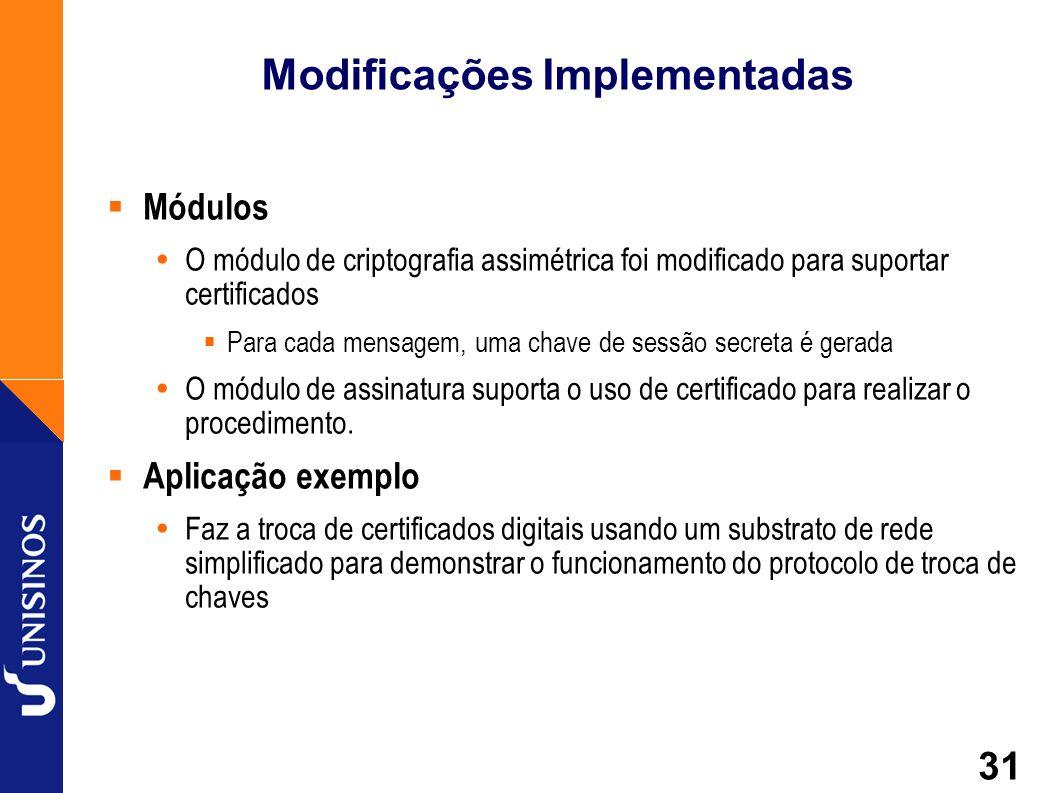 31 Modificações Implementadas Módulos O módulo de criptografia assimétrica foi modificado para suportar certificados Para cada mensagem, uma chave de