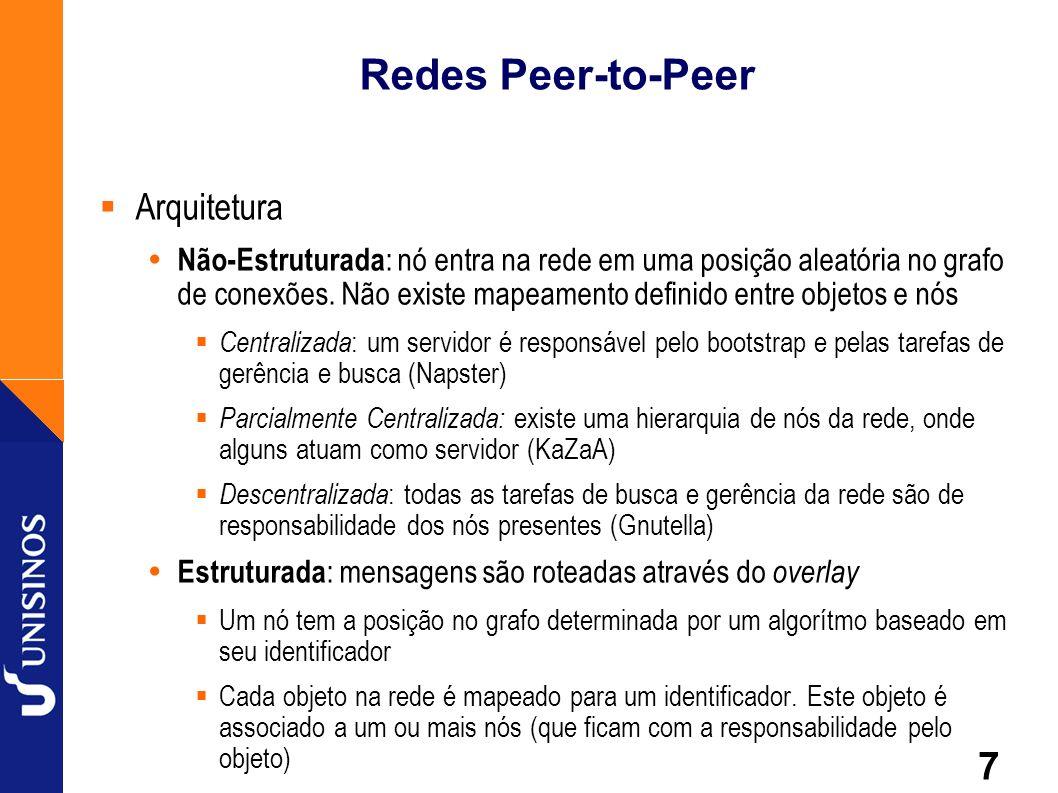 7 Redes Peer-to-Peer Arquitetura Não-Estruturada : nó entra na rede em uma posição aleatória no grafo de conexões. Não existe mapeamento definido entr