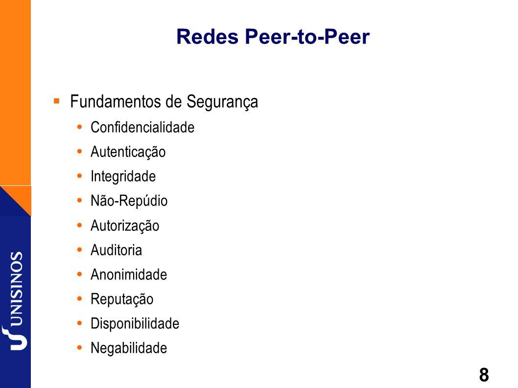 8 Redes Peer-to-Peer Fundamentos de Segurança Confidencialidade Autenticação Integridade Não-Repúdio Autorização Auditoria Anonimidade Reputação Dispo