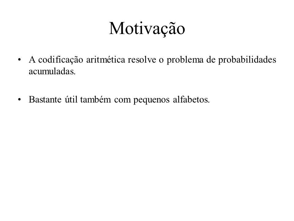 Motivação A codificação aritmética resolve o problema de probabilidades acumuladas. Bastante útil também com pequenos alfabetos.