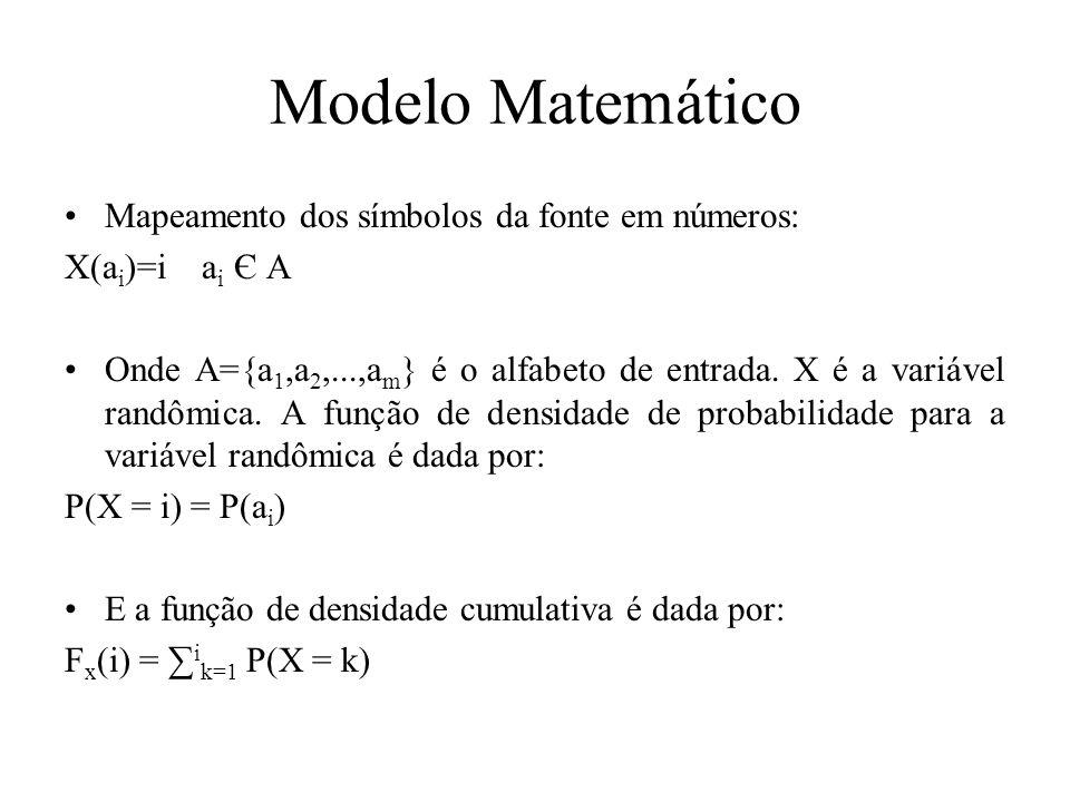 Modelo Matemático Mapeamento dos símbolos da fonte em números: X(a i )=i a i Є A Onde A={a 1,a 2,...,a m } é o alfabeto de entrada. X é a variável ran