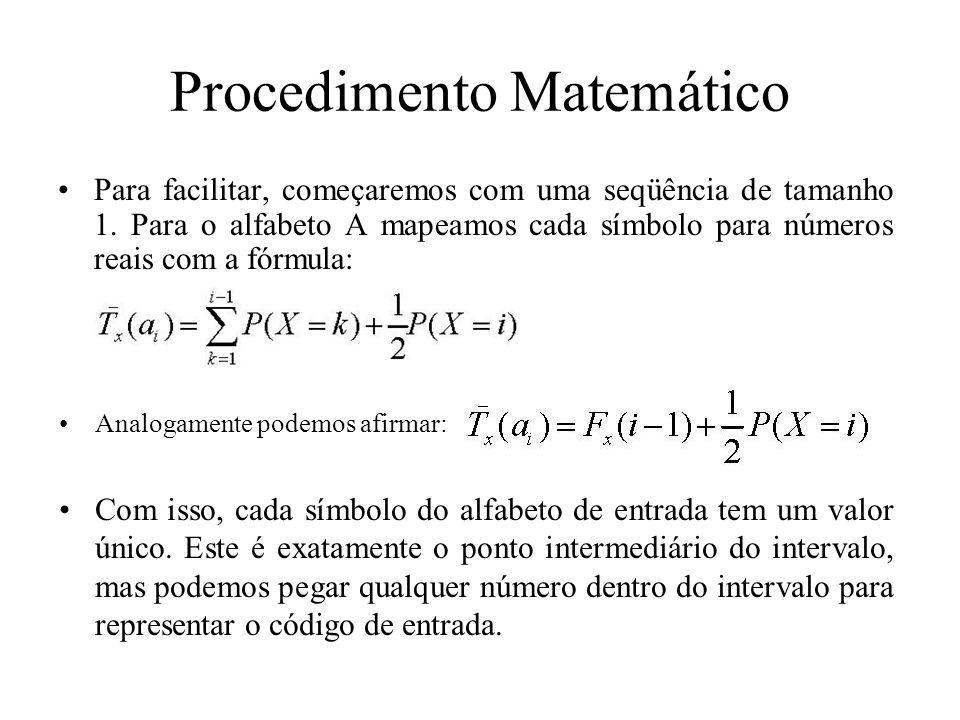 Procedimento Matemático Para facilitar, começaremos com uma seqüência de tamanho 1. Para o alfabeto A mapeamos cada símbolo para números reais com a f