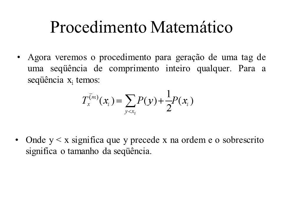 Procedimento Matemático Agora veremos o procedimento para geração de uma tag de uma seqüência de comprimento inteiro qualquer. Para a seqüência x i te