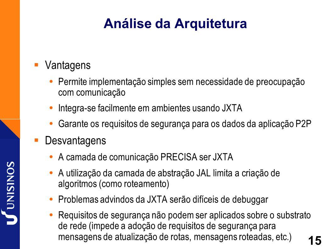 15 Análise da Arquitetura Vantagens Permite implementação simples sem necessidade de preocupação com comunicação Integra-se facilmente em ambientes us