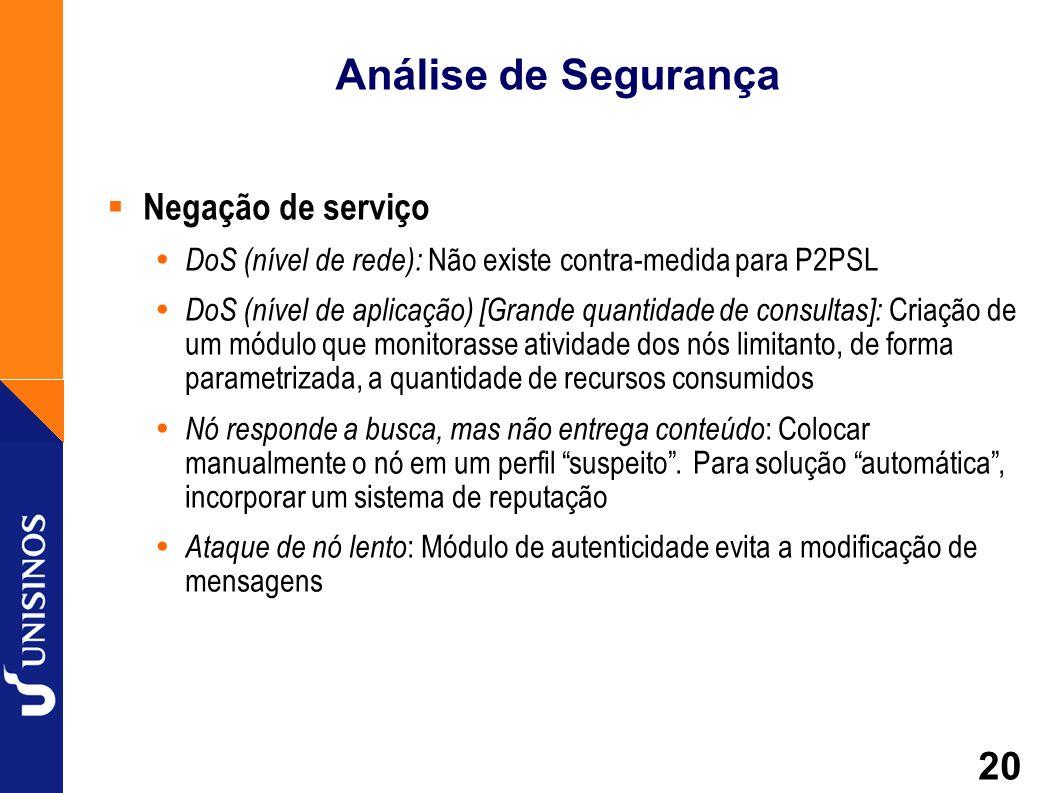 20 Análise de Segurança Negação de serviço DoS (nível de rede): Não existe contra-medida para P2PSL DoS (nível de aplicação) [Grande quantidade de con