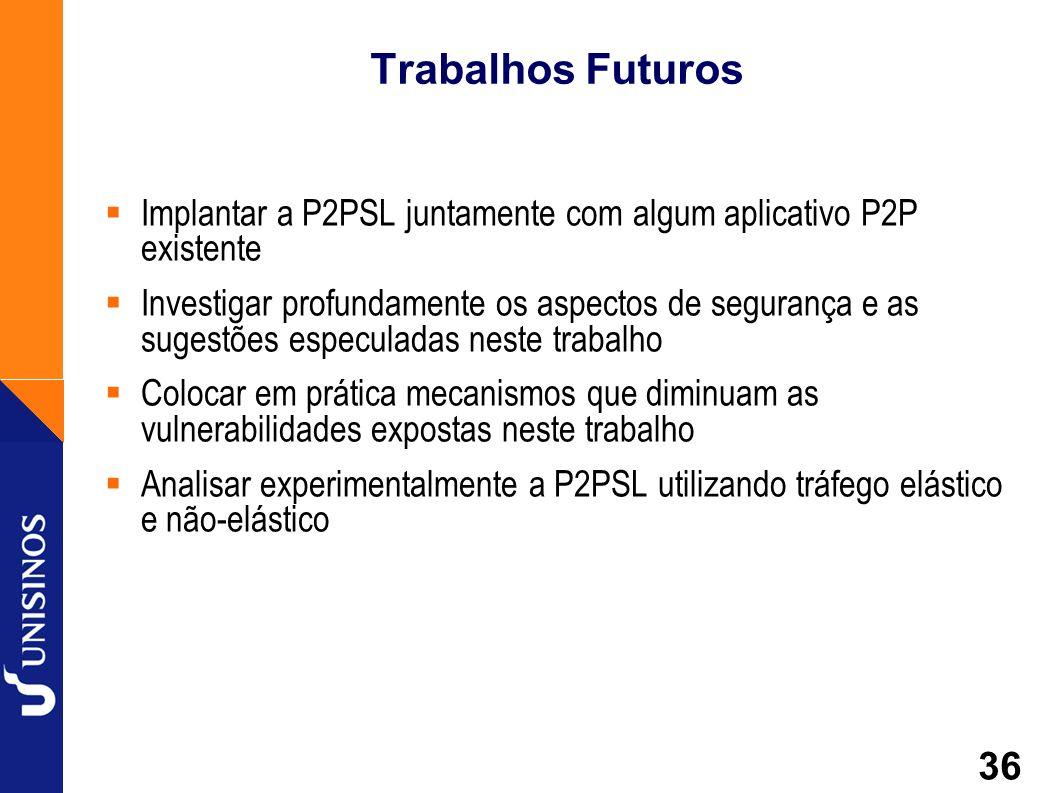36 Trabalhos Futuros Implantar a P2PSL juntamente com algum aplicativo P2P existente Investigar profundamente os aspectos de segurança e as sugestões