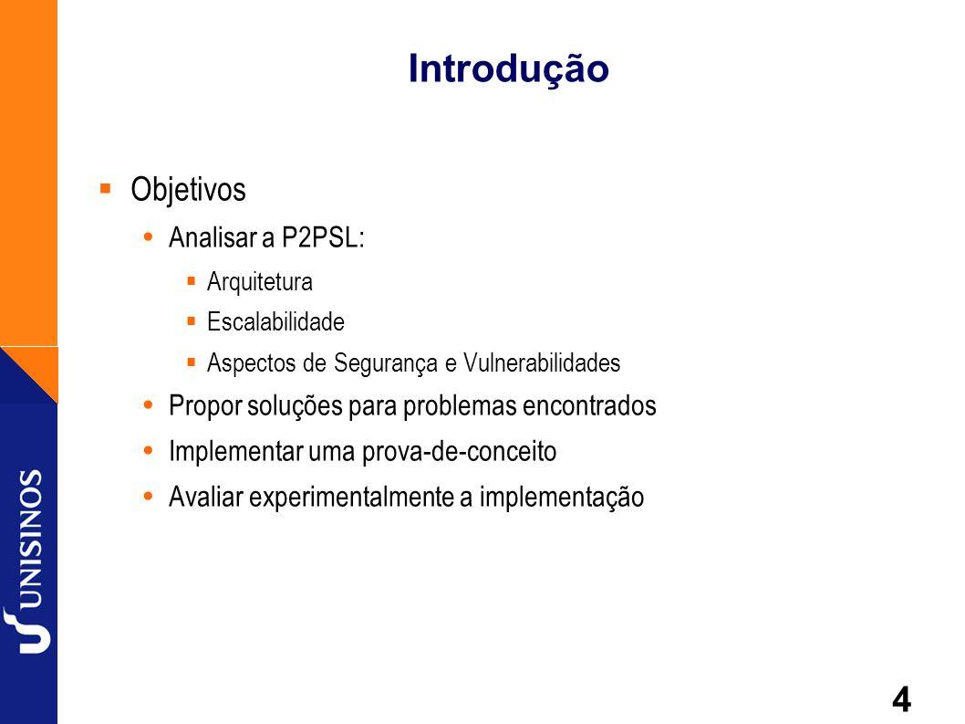 4 Introdução Objetivos Analisar a P2PSL: Arquitetura Escalabilidade Aspectos de Segurança e Vulnerabilidades Propor soluções para problemas encontrado