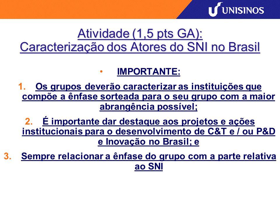 Atividade (1,5 pts GA): Caracterização dos Atores do SNI no Brasil IMPORTANTE: 1.Os grupos deverão caracterizar as instituições que compõe a ênfase sorteada para o seu grupo com a maior abrangência possível; 2.É importante dar destaque aos projetos e ações institucionais para o desenvolvimento de C&T e / ou P&D e Inovação no Brasil; e 3.Sempre relacionar a ênfase do grupo com a parte relativa ao SNI