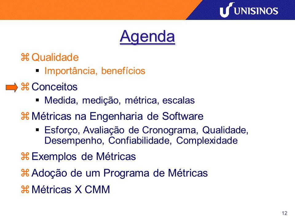 12 Agenda zQualidade Importância, benefícios zConceitos Medida, medição, métrica, escalas zMétricas na Engenharia de Software Esforço, Avaliação de Cr