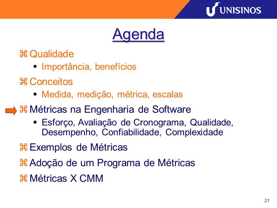 21 Agenda zQualidade Importância, benefícios zConceitos Medida, medição, métrica, escalas zMétricas na Engenharia de Software Esforço, Avaliação de Cr