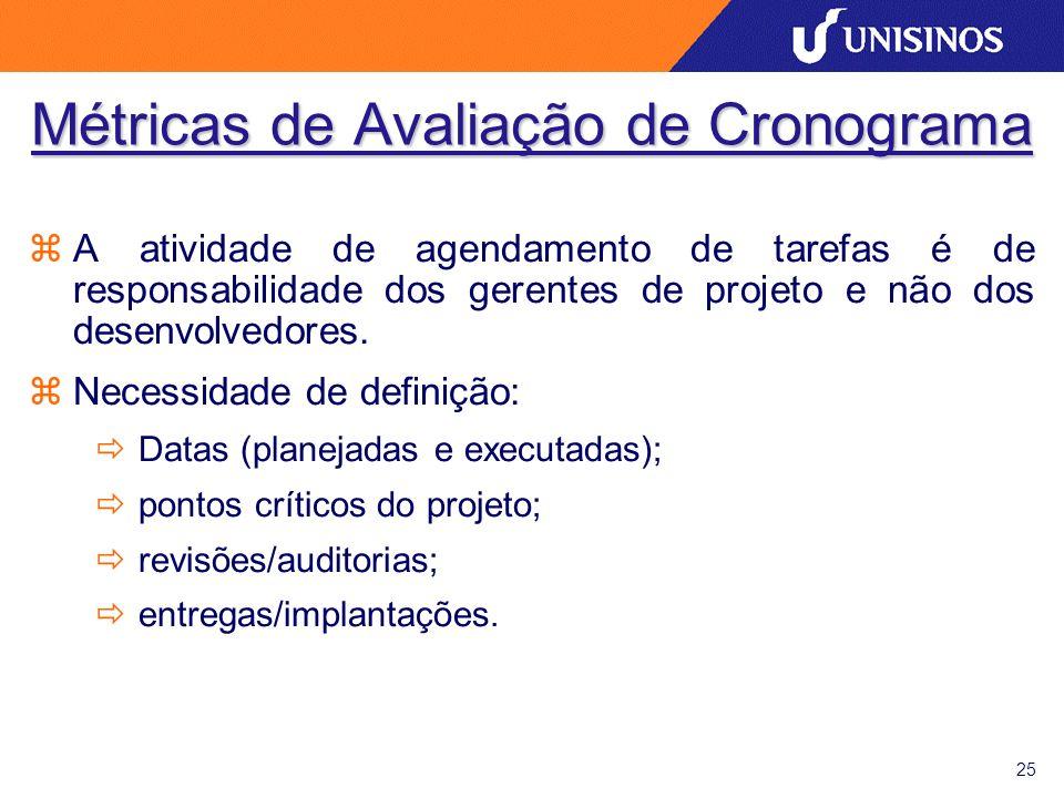25 Métricas de Avaliação de Cronograma zA atividade de agendamento de tarefas é de responsabilidade dos gerentes de projeto e não dos desenvolvedores.