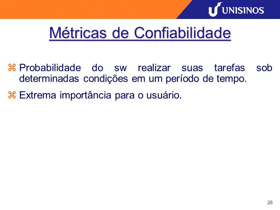 28 Métricas de Confiabilidade zProbabilidade do sw realizar suas tarefas sob determinadas condições em um período de tempo.