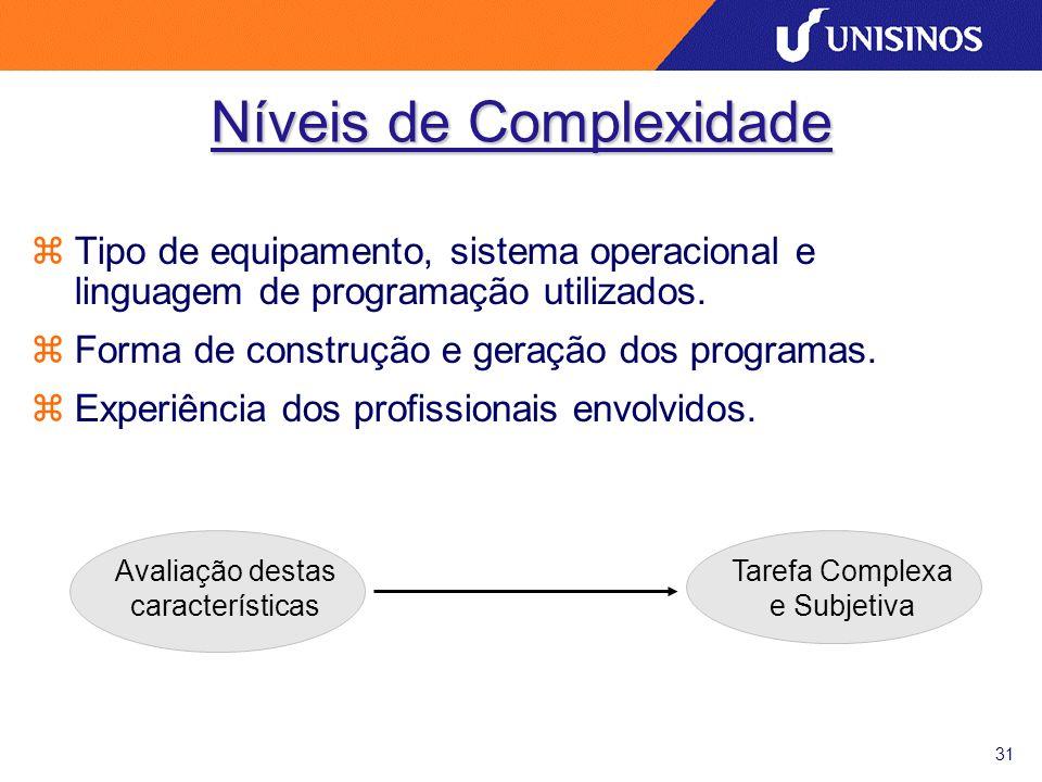 31 Níveis de Complexidade zTipo de equipamento, sistema operacional e linguagem de programação utilizados.