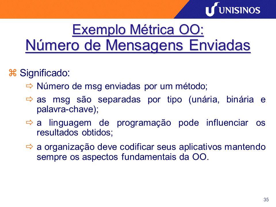 35 Exemplo Métrica OO: Número de Mensagens Enviadas zSignificado : ðNúmero de msg enviadas por um método; ðas msg são separadas por tipo (unária, biná