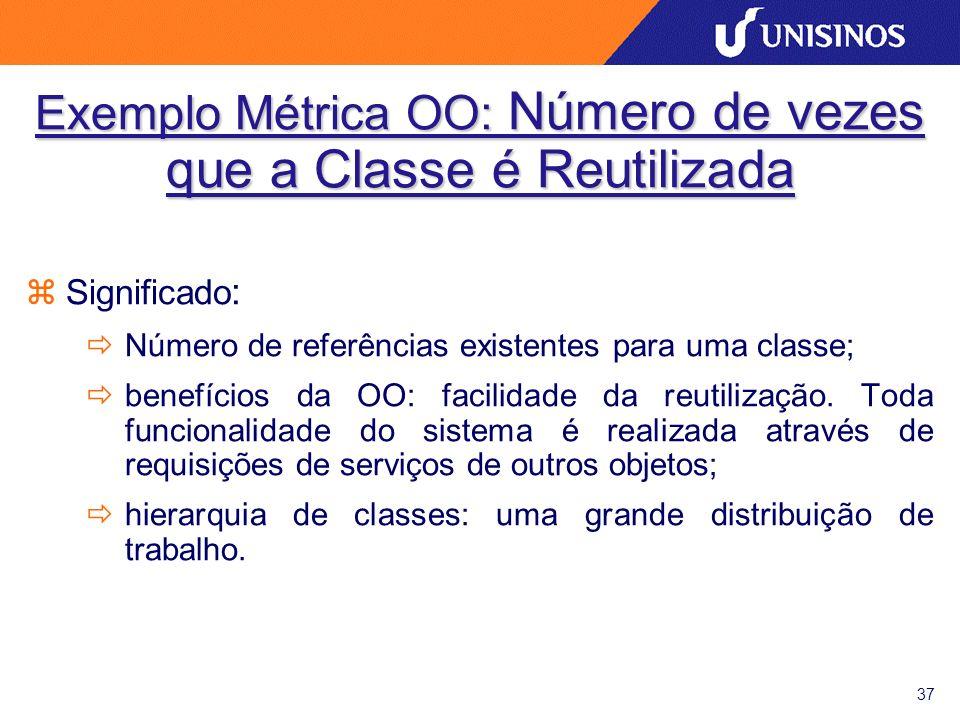 37 zSignificado : ðNúmero de referências existentes para uma classe; ðbenefícios da OO: facilidade da reutilização. Toda funcionalidade do sistema é r