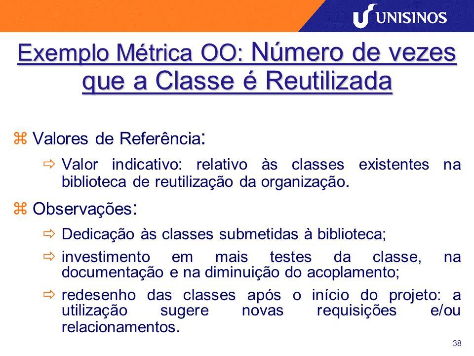 38 zValores de Referência : ðValor indicativo: relativo às classes existentes na biblioteca de reutilização da organização. zObservações : ðDedicação