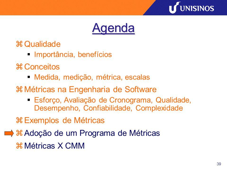 39 Agenda zQualidade Importância, benefícios zConceitos Medida, medição, métrica, escalas zMétricas na Engenharia de Software Esforço, Avaliação de Cr