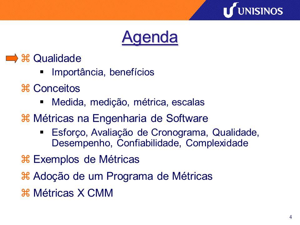 4 Agenda zQualidade Importância, benefícios zConceitos Medida, medição, métrica, escalas zMétricas na Engenharia de Software Esforço, Avaliação de Cro