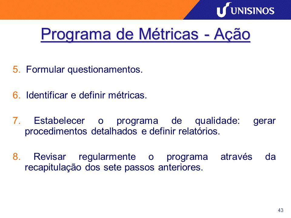 43 Programa de Métricas - Ação 5. Formular questionamentos. 6. Identificar e definir métricas. 7. Estabelecer o programa de qualidade: gerar procedime