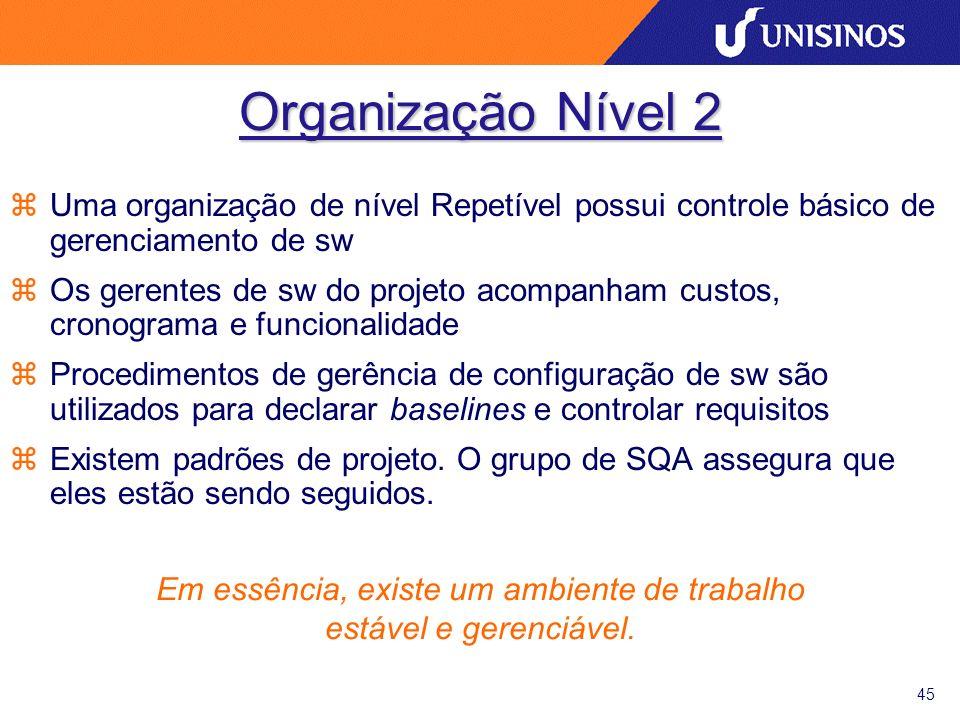 45 Organização Nível 2 zUma organização de nível Repetível possui controle básico de gerenciamento de sw zOs gerentes de sw do projeto acompanham cust
