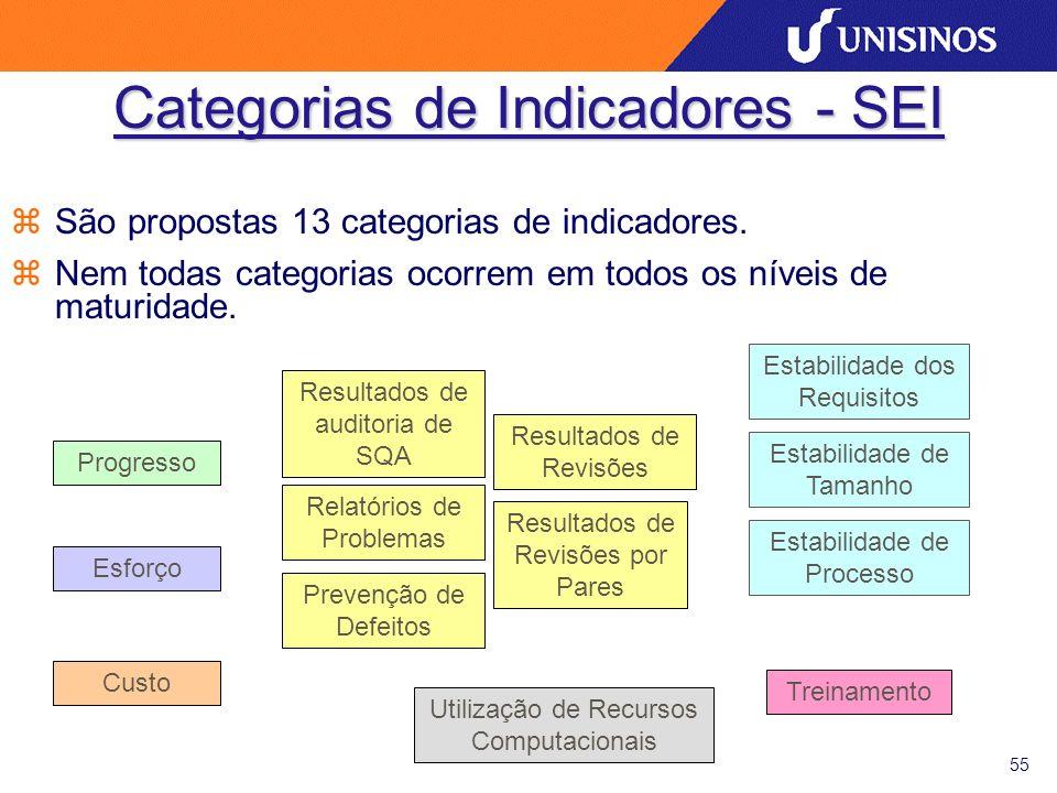 55 Categorias de Indicadores - SEI zSão propostas 13 categorias de indicadores. zNem todas categorias ocorrem em todos os níveis de maturidade. Progre