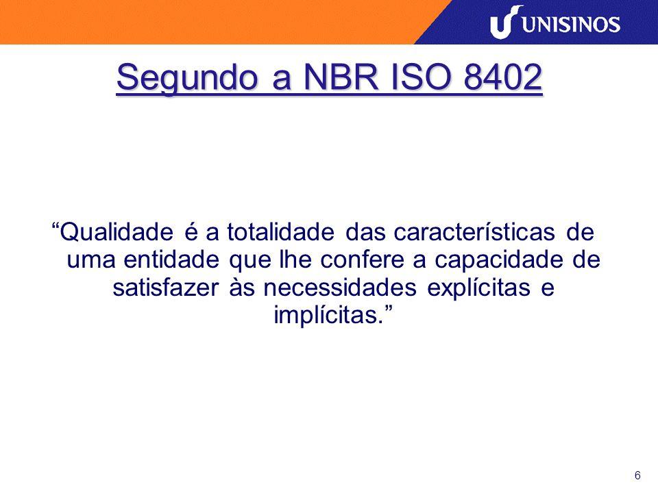 6 Segundo a NBR ISO 8402 Qualidade é a totalidade das características de uma entidade que lhe confere a capacidade de satisfazer às necessidades explícitas e implícitas.