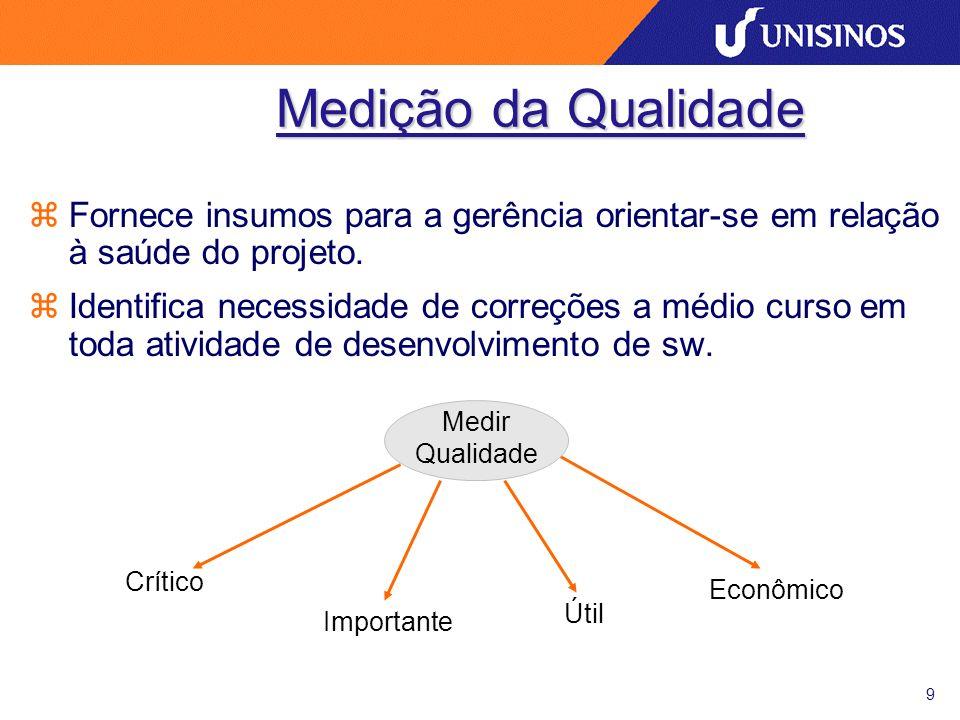 9 Medição da Qualidade zFornece insumos para a gerência orientar-se em relação à saúde do projeto. zIdentifica necessidade de correções a médio curso