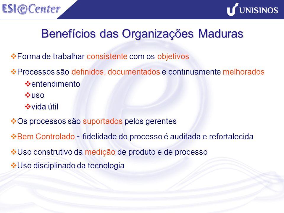 Benefícios das Organizações Maduras Forma de trabalhar consistente com os objetivos Processos são definidos, documentados e continuamente melhorados e