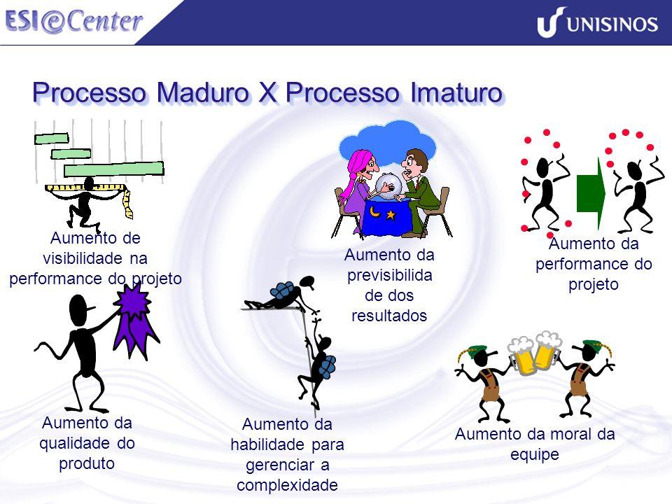 Processo Maduro X Processo Imaturo Aumento da previsibilida de dos resultados Aumento da performance do projeto Aumento da moral da equipe Aumento da