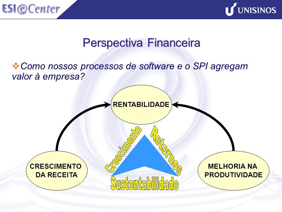 Perspectiva Financeira Como nossos processos de software e o SPI agregam valor à empresa? CRESCIMENTO DA RECEITA RENTABILIDADE MELHORIA NA PRODUTIVIDA