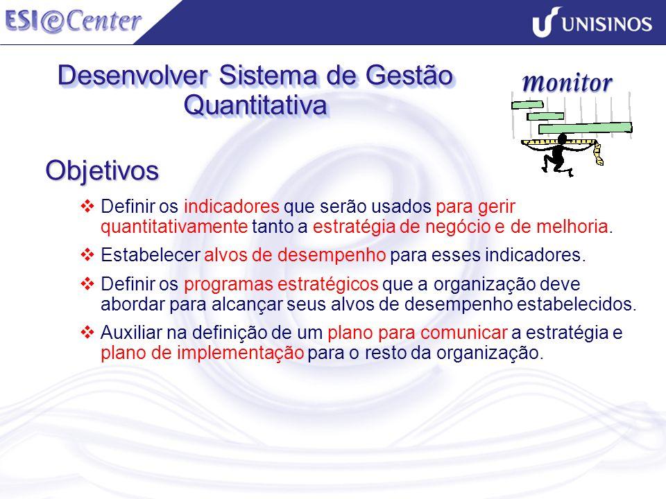 Desenvolver Sistema de Gestão Quantitativa Objetivos Definir os indicadores que serão usados para gerir quantitativamente tanto a estratégia de negóci