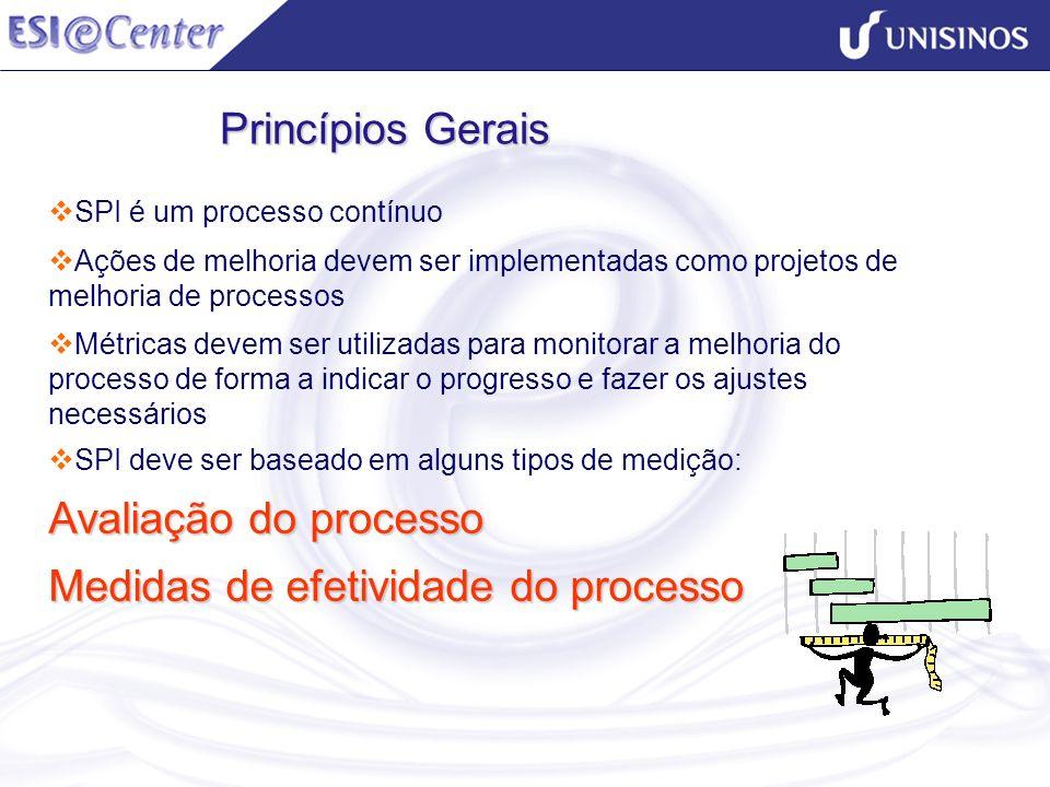 SPI é um processo contínuo Ações de melhoria devem ser implementadas como projetos de melhoria de processos Métricas devem ser utilizadas para monitor