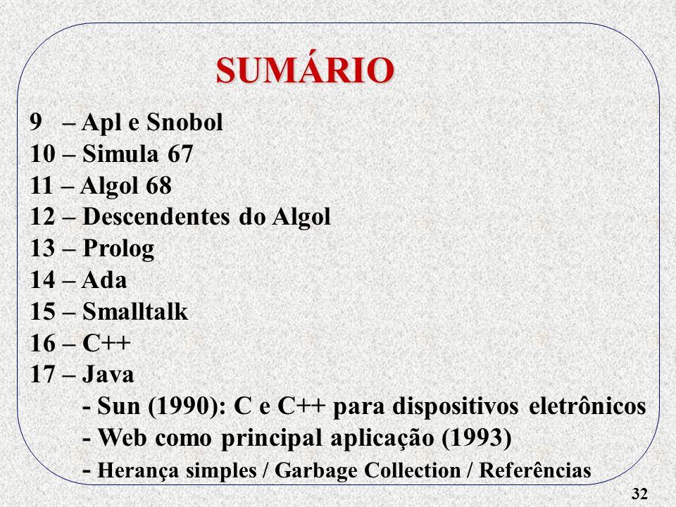32 SUMÁRIO 9 – Apl e Snobol 10 – Simula 67 11 – Algol 68 12 – Descendentes do Algol 13 – Prolog 14 – Ada 15 – Smalltalk 16 – C++ 17 – Java - Sun (1990): C e C++ para dispositivos eletrônicos - Web como principal aplicação (1993) - Herança simples / Garbage Collection / Referências