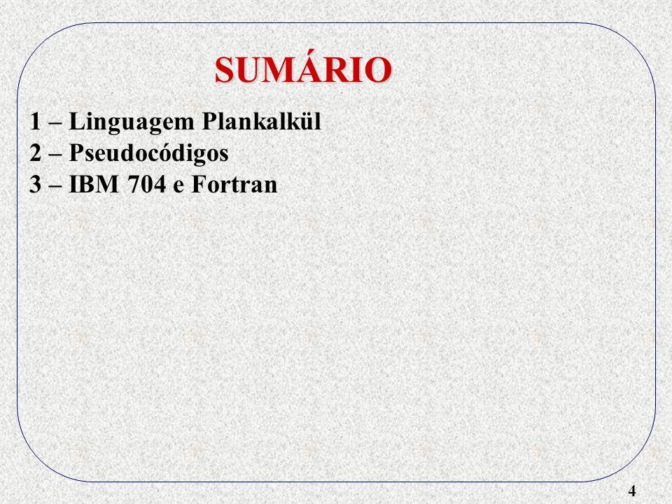 15 SUMÁRIO 1 – Linguagem Plankalkül 2 – Pseudocódigos 3 – IBM 704 e Fortran 4 – Lisp 5 – Algol 6 – Cobol 7 – Basic 8 – PL/1 - Concorrência - Ponteiros