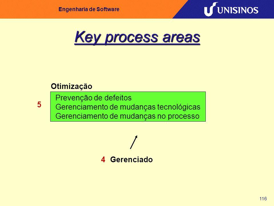 116 Engenharia de Software Key process areas Prevenção de defeitos Gerenciamento de mudanças tecnológicas Gerenciamento de mudanças no processo Otimiz