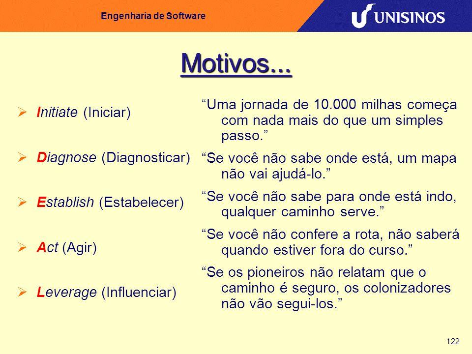 122 Engenharia de Software Motivos... Initiate (Iniciar) Diagnose (Diagnosticar) Establish (Estabelecer) Act (Agir) Leverage (Influenciar) Uma jornada